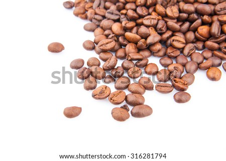 Coffee beans isolated on white background, food photo