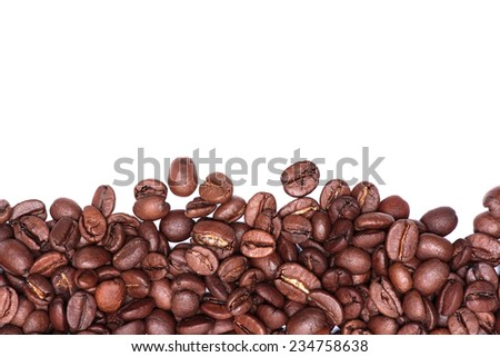 Coffee Beans isolated on white. Coffee frame - stock photo