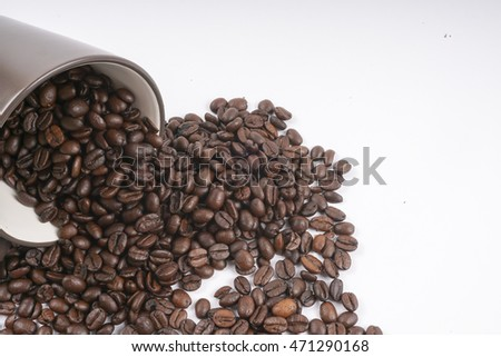 Coffee Beans isolated on white. DOF and copy space
