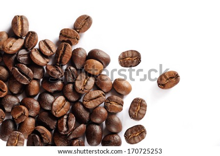 Coffee beans isolated, studio shot