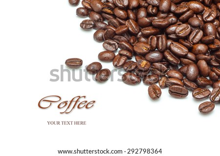 coffee beans isolated, white background - stock photo