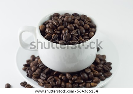 Coffee beans isolated with a white background
