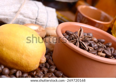 coffee beans, lemon, anise and aroma spice - stock photo