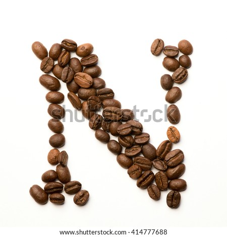 coffee beans, letter N, abc