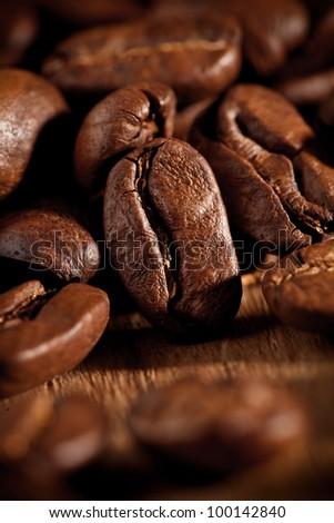 coffee beans macro - stock photo