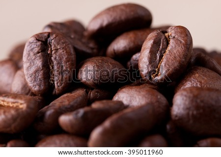 coffee beans macro. Taken with a super macro lens, almost a microscope. It is clearly seen texture and texture of coffee - stock photo