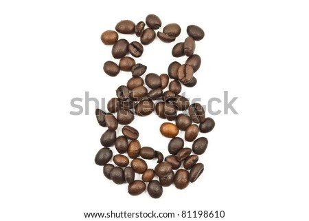 Coffee beans number 8 isolated on the white. - stock photo
