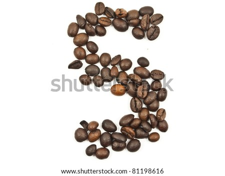 Coffee beans number 5 isolated on the white.