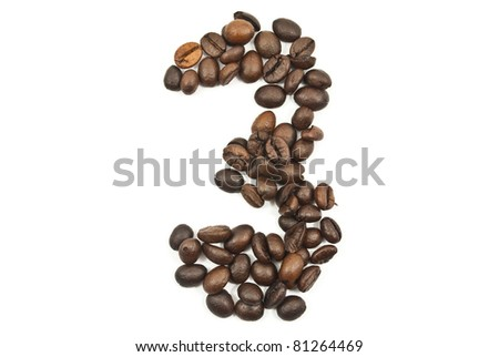Coffee beans number 3 isolated on the white. - stock photo