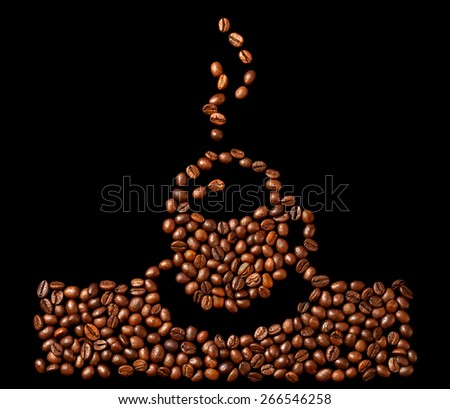 Coffee beans on a black background as a drawing