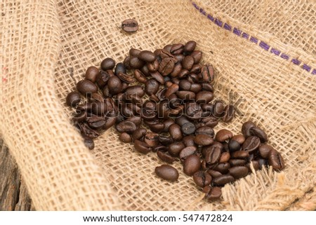 Coffee beans on a burlap sack