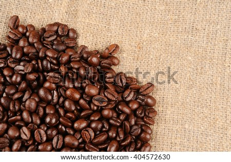 coffee beans on a rough sacking