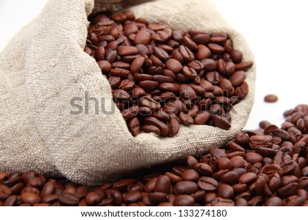 Coffee beans on a white background on Food and Drink