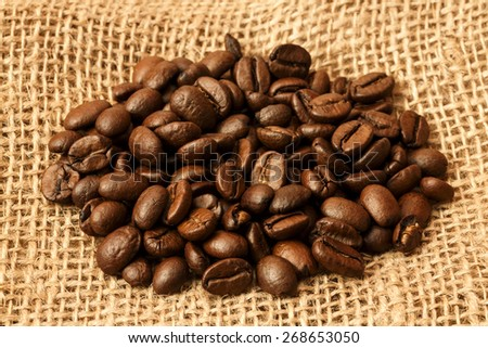 Coffee Beans On Jute Bag/ Coffee Beans - stock photo