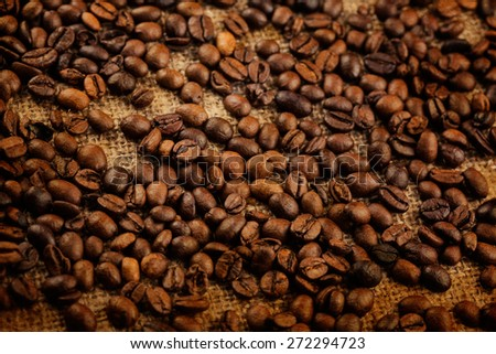 Coffee beans on vintage background