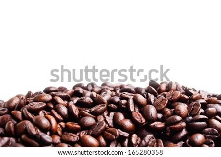 Coffee beans on white background - stock photo