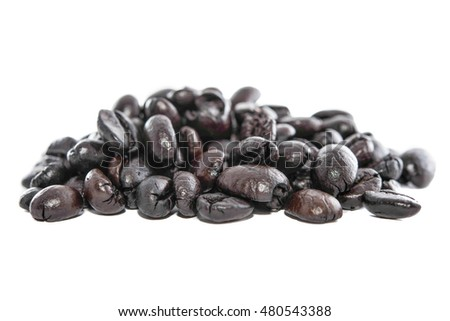 Coffee beans on white backgrounds