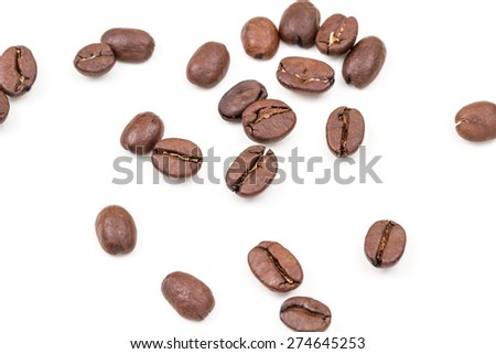 coffee beans on white isolated