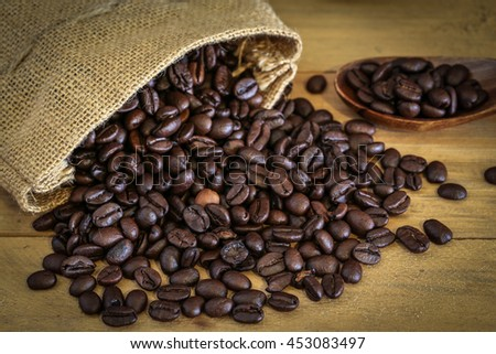 Coffee beans on wood background , Roasted coffee beans placed on a wooden floor.