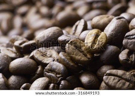 Coffee beans on wood background,shot with very shallow depth of field.