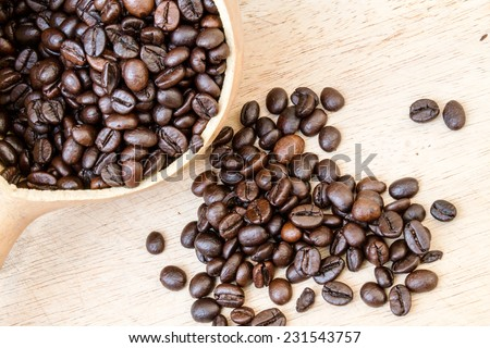 Coffee beans on wooden floor