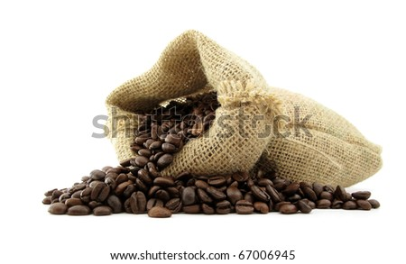 Coffee beans roasted in jute sack - stock photo