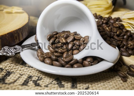 coffee beans, shallow depth of field - stock photo