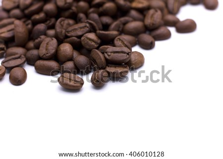 coffee beans  , soft focus , selective of focus , isolated - stock photo