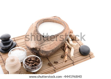 coffee beans, Spa stuff with candles in coconut - stock photo