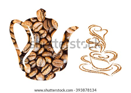 Coffee beans stacked in the form of a coffee pot and ground coffee stacked in the form of cup - stock photo