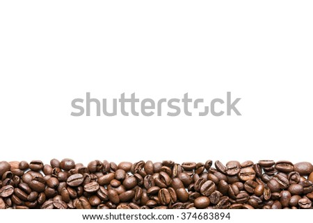 coffee beans stripe isolated on white background - stock photo
