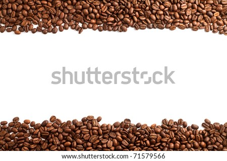 coffee beans stripes isolated in white background - stock photo