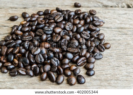 Coffee beans top view on old wooden background.