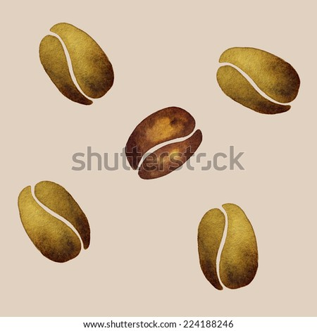 Coffee Beans, Watercolor Pattern With Background Light Coffee Color.
