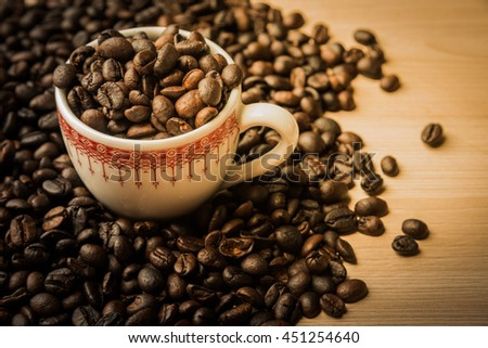 coffee beans with art lighting