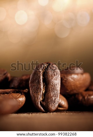 coffee beans with bokeh - stock photo