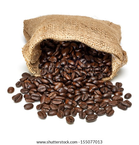 Coffee beans with burlap bag on white background