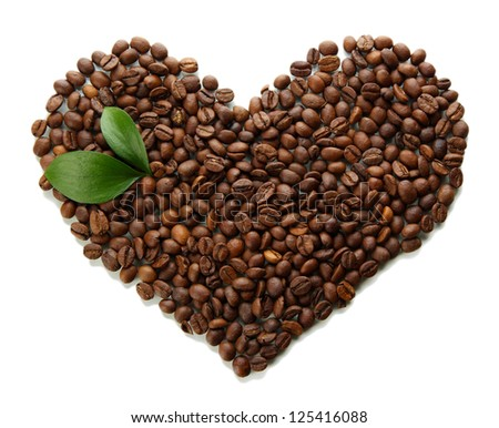 Coffee beans with leaves isolated on white - stock photo