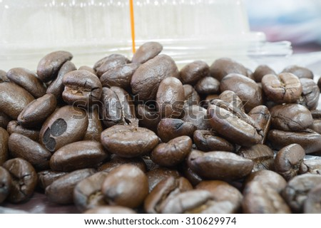 Coffee beans with selective foucus