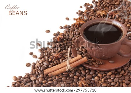 Coffee beans with spice and coffee cup isolated on white background - stock photo
