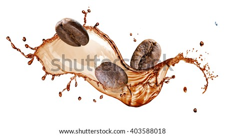 Coffee beans with splash isolated on white background - stock photo