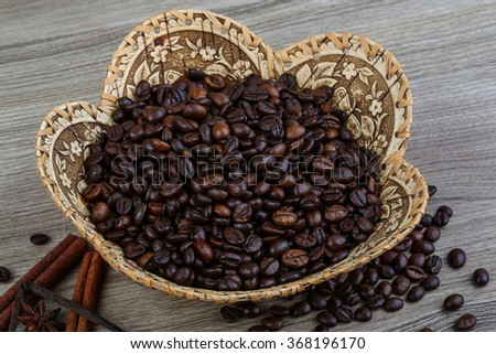 Coffee beans with vanila sticks, and star-anise