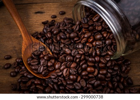 coffee beans with vintage style background.