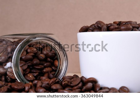coffee beans with white cup - stock photo