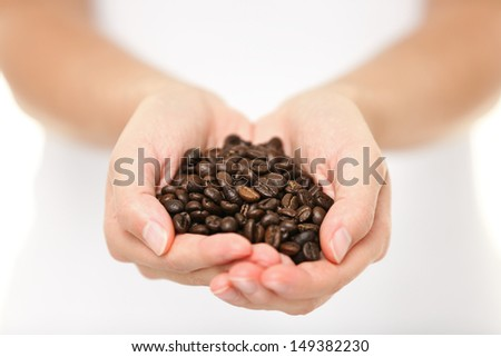 Coffee beans - woman showing medium roasted coffee beans handful. Close up of woman holding coffee beans in hands. - stock photo