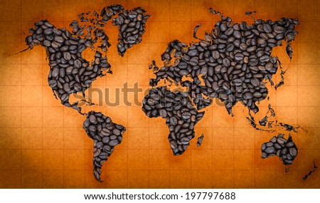 Coffee beans world map background  - stock photo