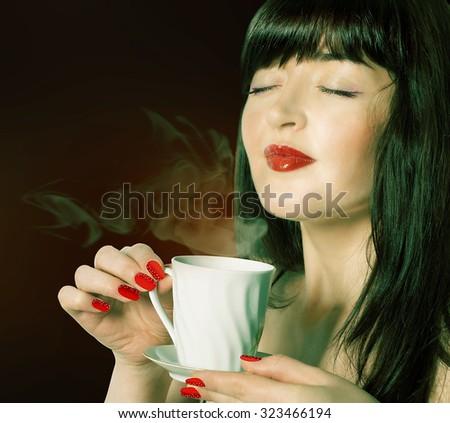 Coffee. Beautiful Girl Drinking  Coffee - stock photo