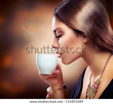 stock photo coffee beautiful girl drinking tea or coffee cup of hot beverage 116401684