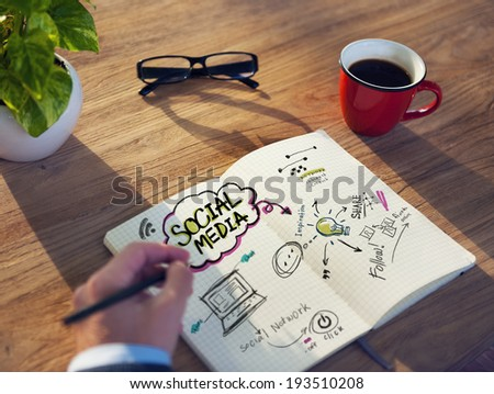 Coffee Break at a Cafe for Inspiration about Social Media - stock photo