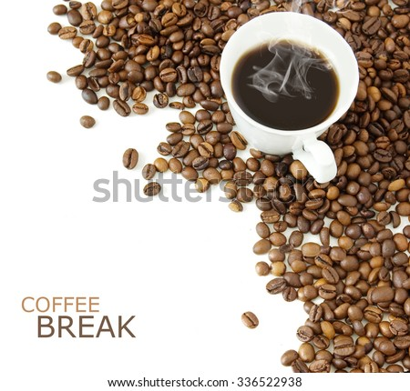 Coffee break. Coffee beans with coffee cup and spice isolated on white background - stock photo